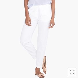 J.Crew Linen-Cotton Drawstring White Pants Pockets